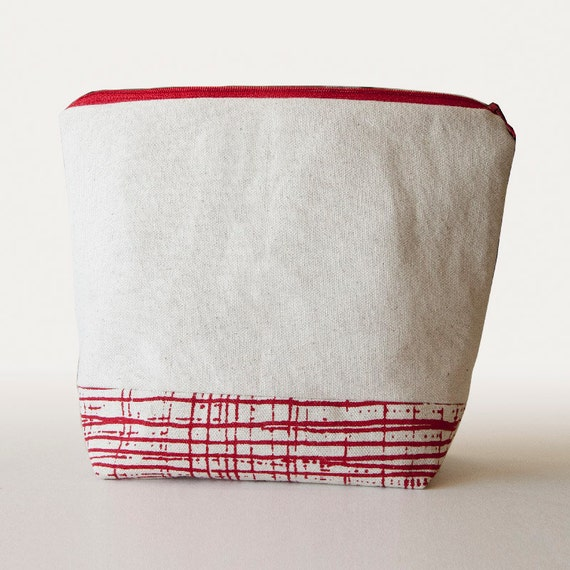Cosmetic Bag in red screenprinted natural cotton canvas lined and zippered