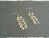 """1.5"""" Bamboo Earrings, Bone & Black"""