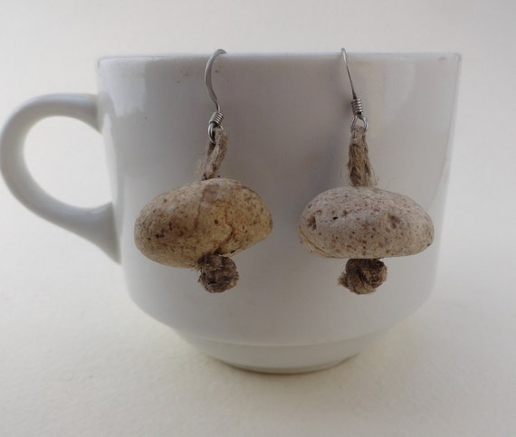 Atlantida stone earrings, natural sea-tumbled Aegean pumice from Lesvos Island Greece