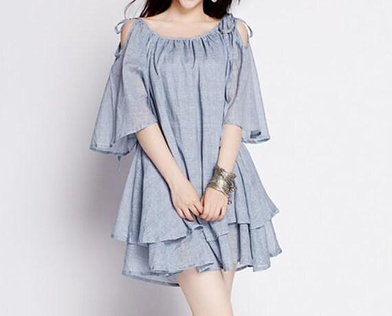 Gray Dress Simple Dress Elegant Soft Cotton Dress