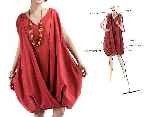Red Ochre Dress Women Dress V-collar Bud Fashion Sundress