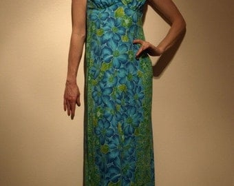 vintage blue and green floral hawaiian print dress