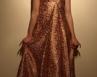 vintage regal full-length brocade gown