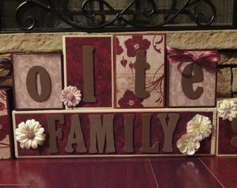 Custom Family Name Home Decor Room Wood Blocks