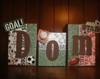 SPORTS - Soccer Baseball Football Custom Name Kids/Baby Room Wood Blocks