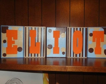 BOYS THEMES Custom Name Kids/Baby Room Wood Blocks
