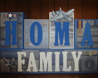 Custom Military Marines AirFore Navy Army Family Name Home Decor Room Wood Blocks