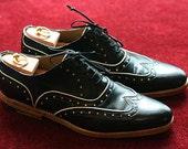 Black Half Brogue - Handmade Leather Men Shoes