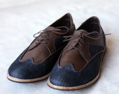 Denim Half Brogues - Handmade Denim/Leather Shoes