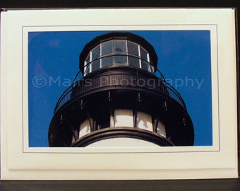 Father's Day Card, Masculine Black White Blue Oregon Lighthouse Newport Yaquina Head, All Occasion, Blank Greeting Card, Photo Card