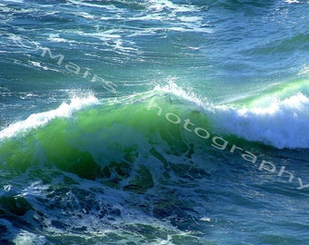 READY TO SHIP, Green Wave Turquoise Surf Ocean Fine Art Photography signed matted 5x7 print