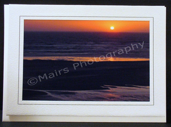 Orange Mauve Gray Ocean Beach Sunset, Birthday Card, Mother's Day, Father's Day, Thank You, All Occasion, Blank Greeting Card, Photo Card