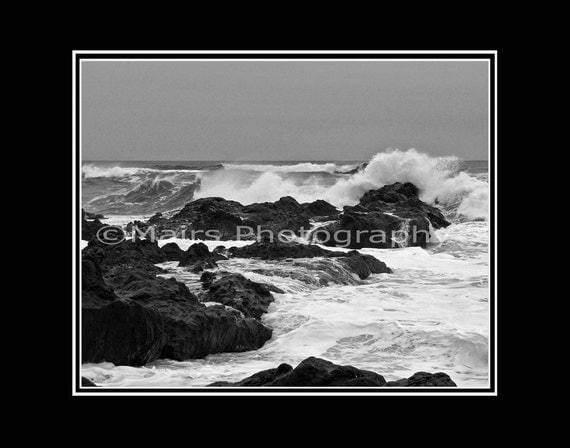 READY TO SHIP, Landscape Photography Ocean Spring Storm Crashing Waves Rocks Surf Black & White Fine Art Photography signed matted print