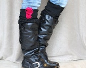 FREE Shipping in US Black Knit Boot Socks Accented with Hot Pink Roses
