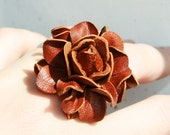 Brown  flower leather ring