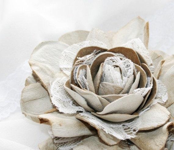 Beige Vintage style Leather Rose Flower Brooch