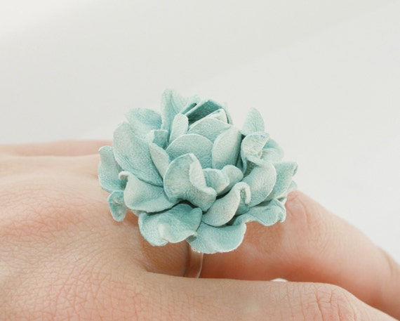 Dusty aqua  flower leather ring