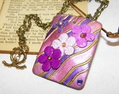 Pink/Purple/Lavender Rectangular Floral Artwork Shell Necklace- Free Shipping