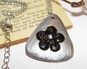 Black and Silver Teardrop Floral Artwork Shell Necklace- Free Shipping