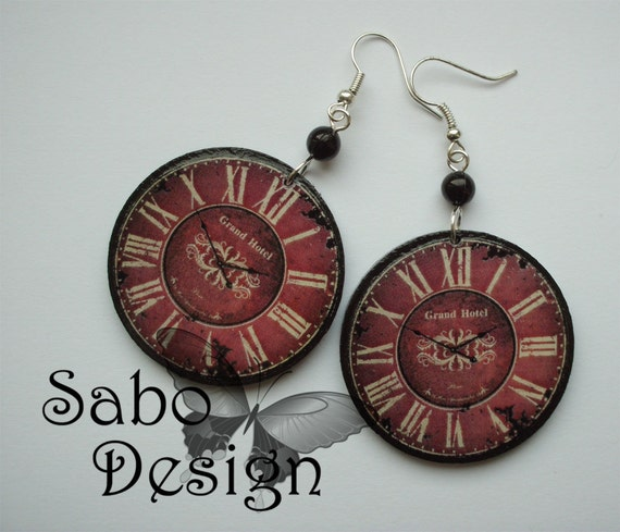 Antique CLOCK EARRINGS retro steampunk vintage clocks gothic goth gothique burlesque perfect gift sterling silver hooks