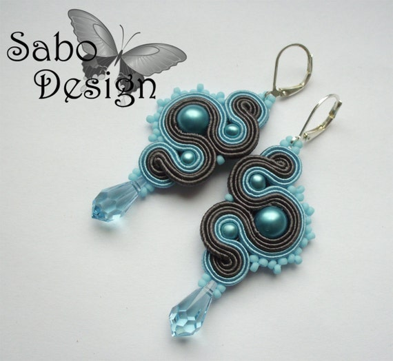 Blue Dragons - soutache earrings, handmade, embroidered in light blue and dark gray satin strips, TOHO, Swarovski crystals, oaak.