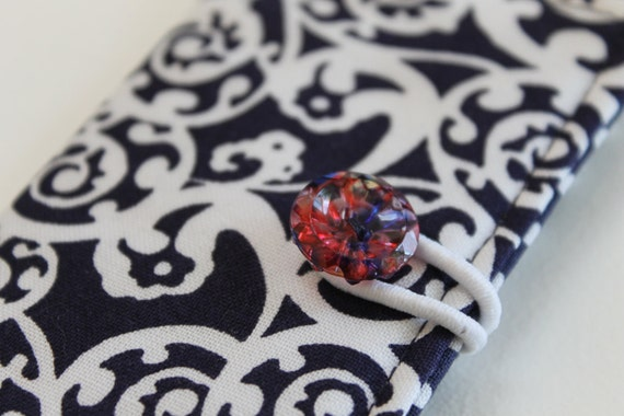 Fabric Card Case in Preppy Navy and White