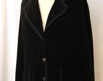 Black Velvet Blazer/Jacket, Butte Knit, vintage 1960s or 1970s, M