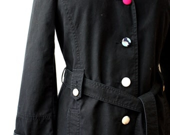 Black Cotton Trench Coat, upcycled, size 10 (medium)
