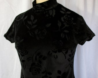 Black Velvet Mini Dress with Rose Design, vintage 1990s, Jonathan Martin, size 7 (small to medium)