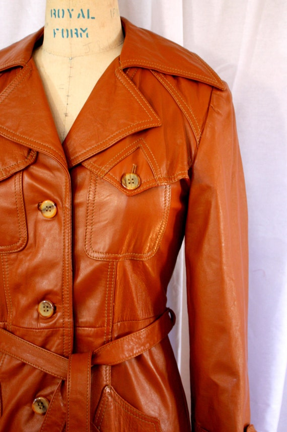 Brown Leather Trench Coat, vintage 1970s, size small-medium (4-8)