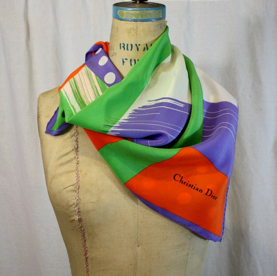 Christian Dior Square Silk Scarf, inspired by pop art and music, vintage 1980s