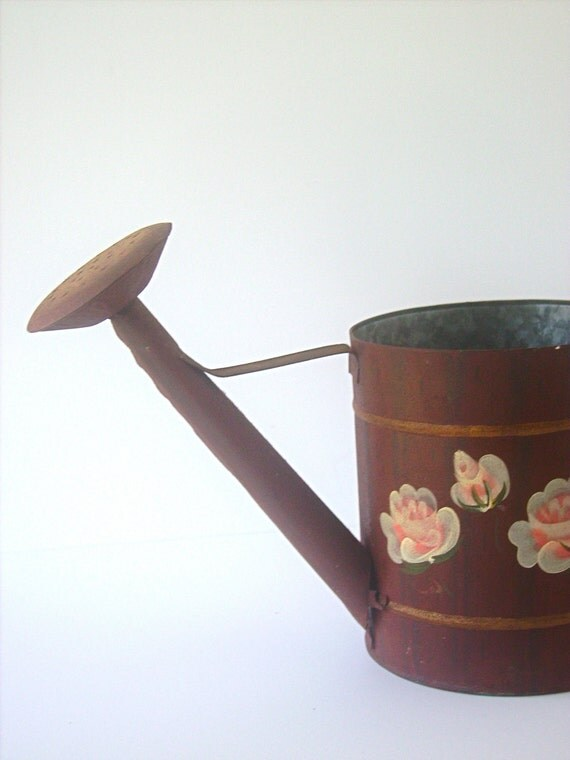 RESERVED ITEM for Suzette C: Vintage Metal Watering Can Planter