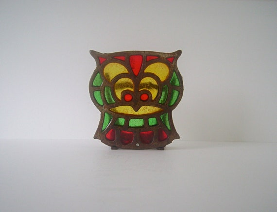 Vintage Stained Glass Owl Letter and/or Napkin Holder in Mint Condition, Made in Taiwan