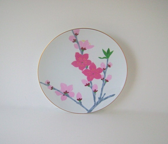 "Vintage Mod Pink Cherry Blossom Motif 6"" Japanese Display Plate"