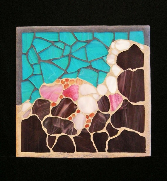 "Stained Glass Mosaic Art Panel, ""Abstract Storm Clouds"""