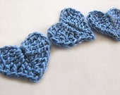 Blue Crochet Heart Appliques Set of 6