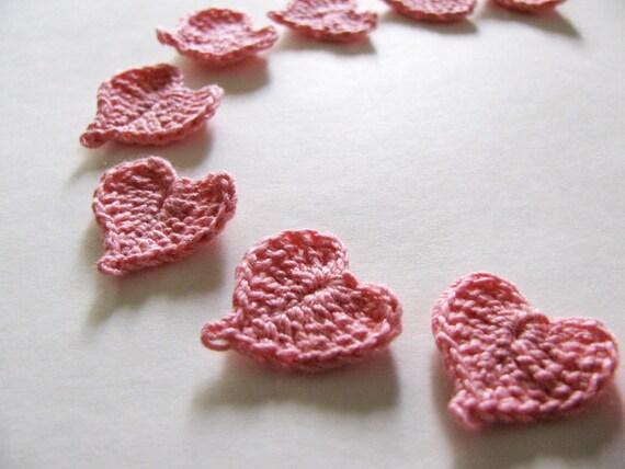 Pink Heart Appliques Set of 12