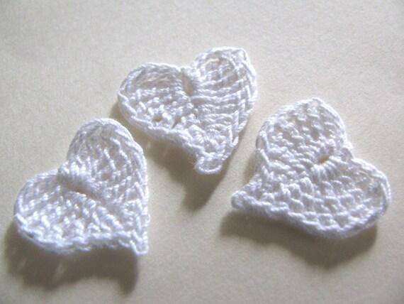 White Heart Appliques Set of 12