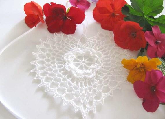 White Irish Crochet Flower Heart Ornament