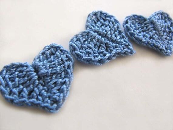 Blue Crochet Heart Appliques Set of 6