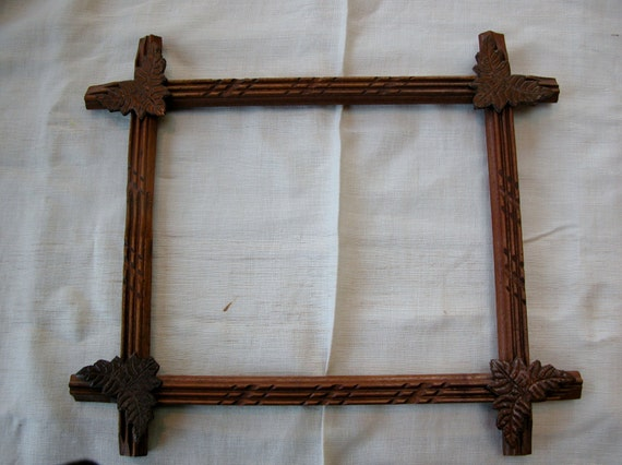 Antique Wooden frame, corner leaf decorations