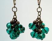 Antique Bronze Green Czech Glass Earrings