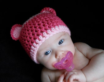 Baby Bear Hat in Pink, 0-3 Months