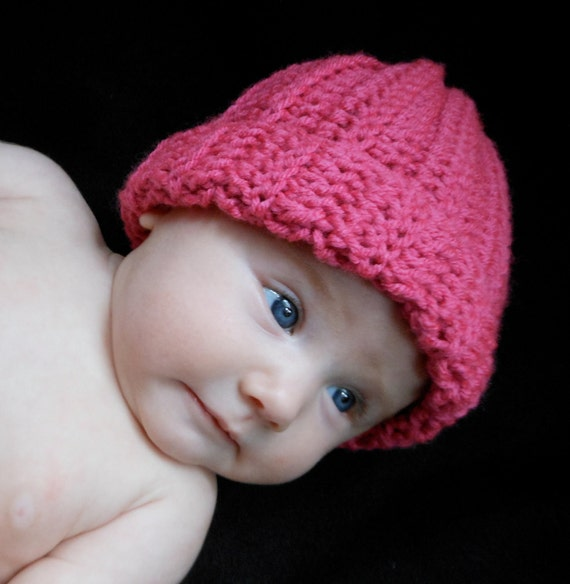 Baby Foldover Cap in Pink for Baby Girls 0-3 Months