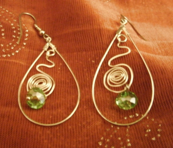 Earrings Handmade Wire Wrap Dangle Crystal Sterling Plated Exotic Gypsy Boho Big Bold Long Forest to Runway