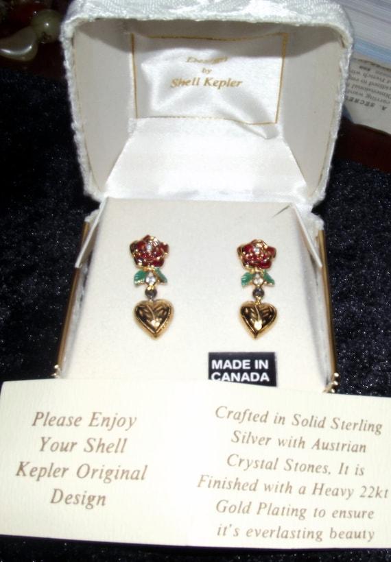 Shell kepler 22kt Vermeil Earrings Vintage Still in Box