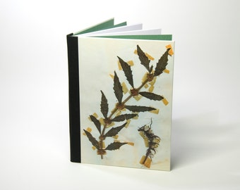 Handbound notebook (lined) with a unique print of dried plants: Lamium