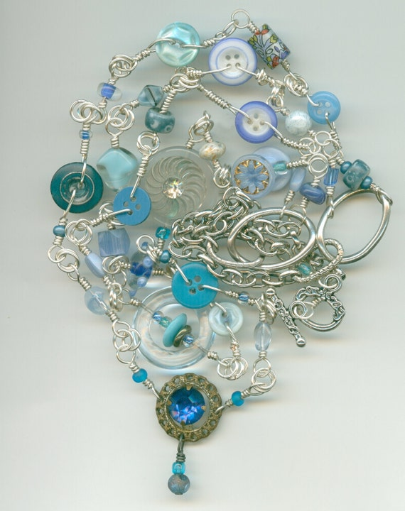 Easy Blue 2 Strand Button Necklace Loaded with Antique & Vintage Buttons (30 Inches)