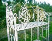 French Country Cottage White Ivory Folding Ornate Iron Metal Iron Bakers Rack Shelves Stand - Pinecones - Plant Stand