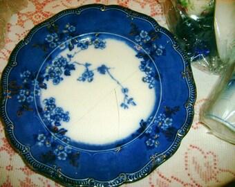 Antique Craft 1870-1960s Broken Porcelain China Glass Flow Blue Tiffany Favrile Aurene Crystal Cobalt Vintage Mosaic Tile Jewelry Design